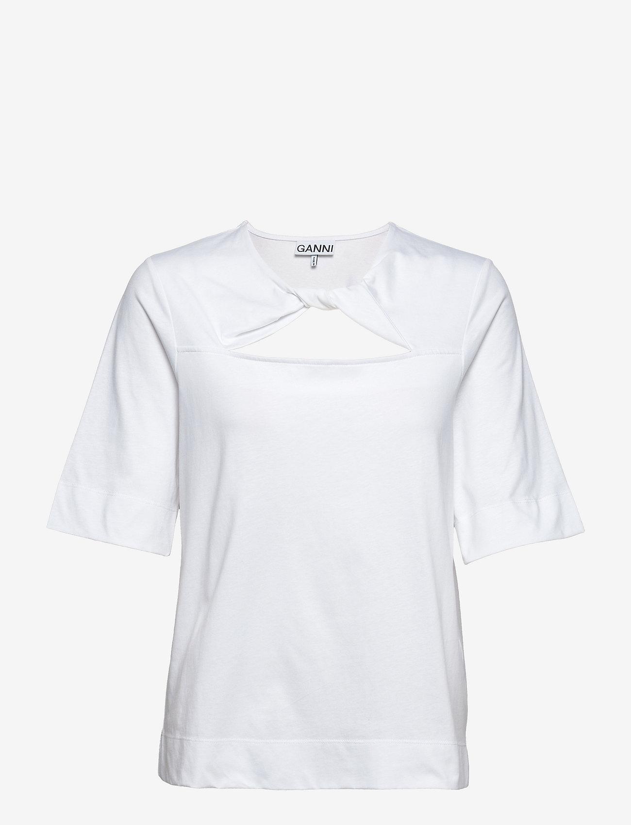 Ganni - Basic Cotton Jersey - t-shirts - bright white - 0