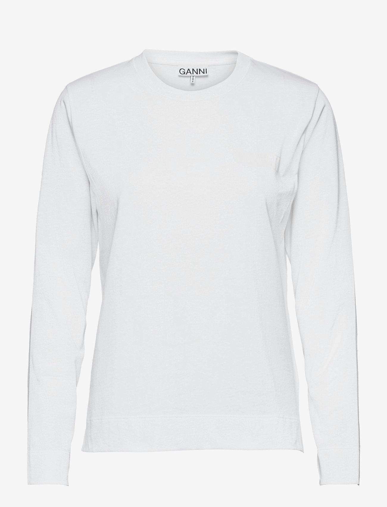 Ganni - Thin Software Jersey - langærmede toppe - white - 0