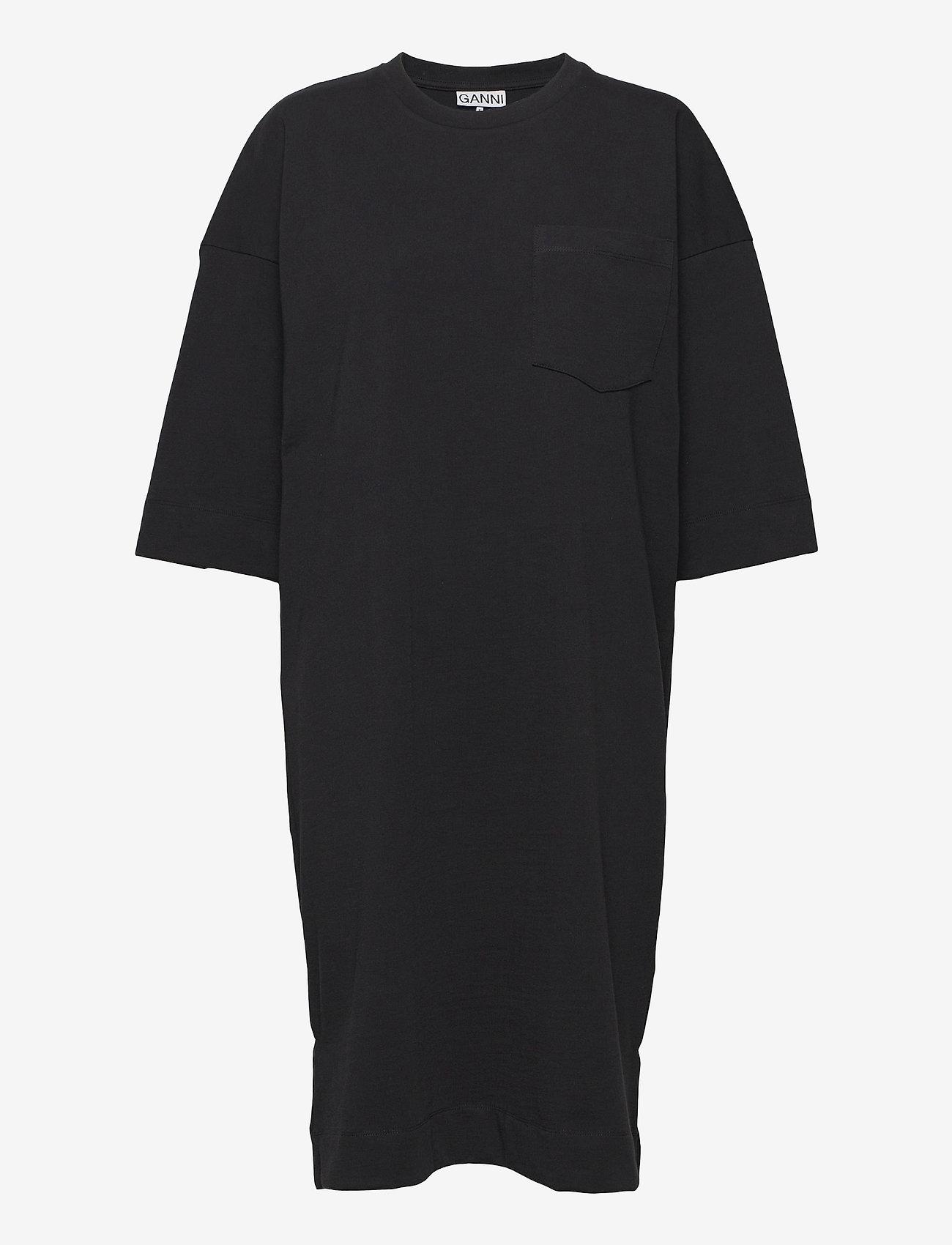 Ganni - Software Jersey - t-shirtkjoler - black - 0