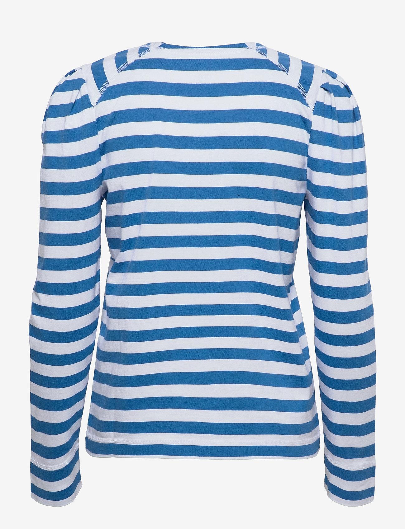 Ganni - Striped Cotton Jersey - t-shirt & tops - bright white - 1