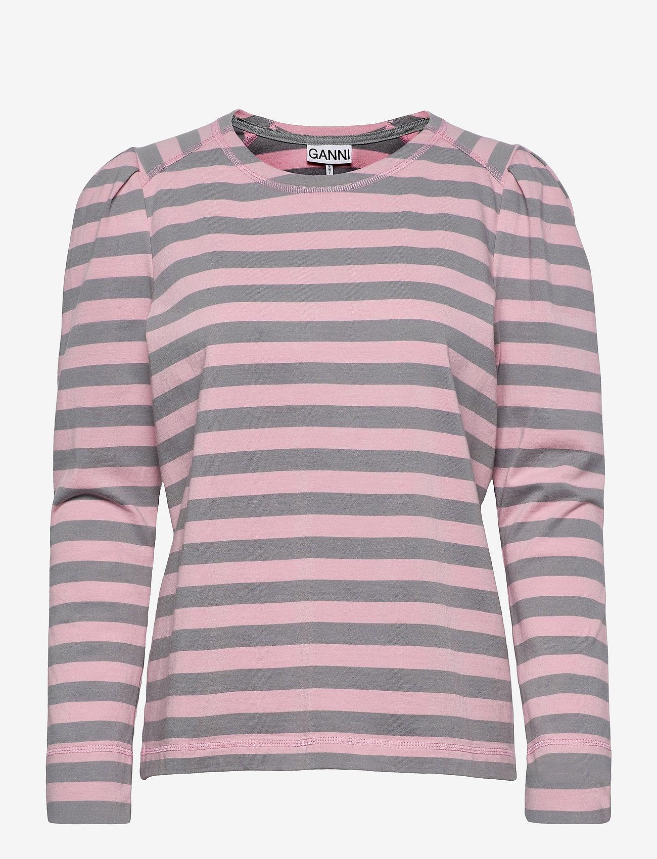 Ganni - Striped Cotton Jersey - langærmede toppe - sharkskin - 0