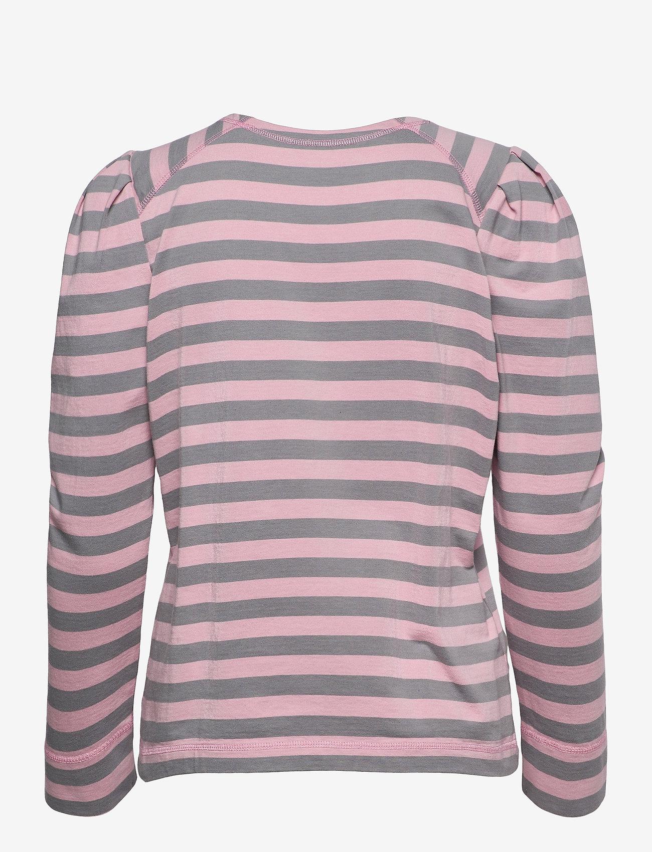 Ganni - Striped Cotton Jersey - langærmede toppe - sharkskin - 1