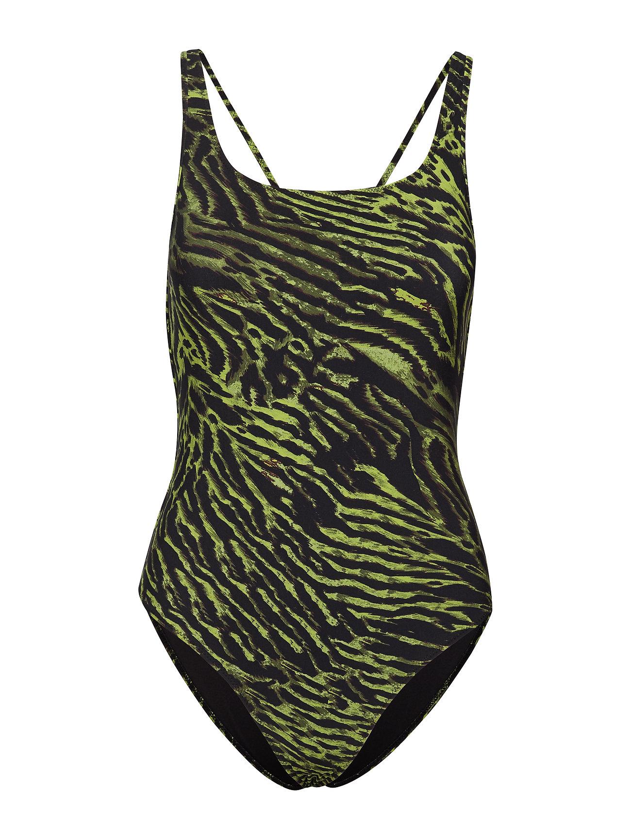 Ganni Tiger Print Swimwear - LIME TIGER