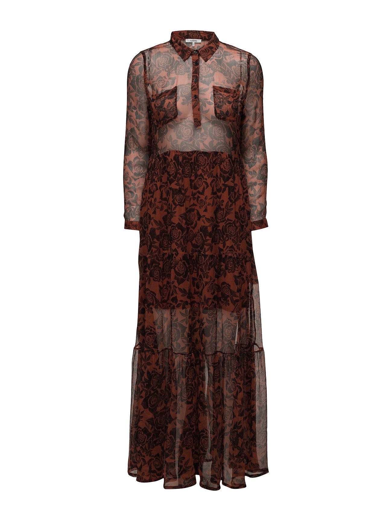 4537385d1909 Ganni Beaumont Chiffon Maxi Dress (Brandy Brown)