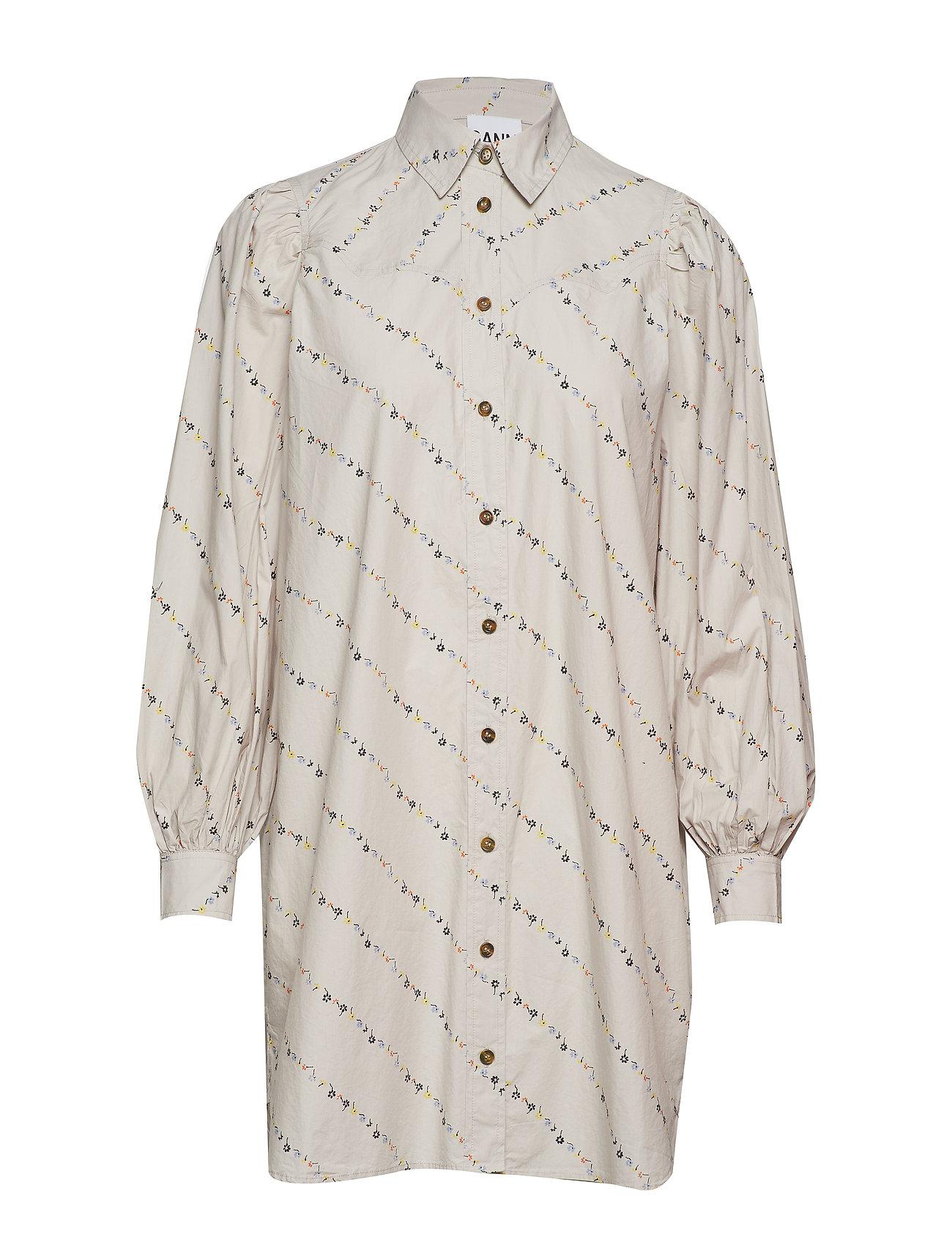 Ganni Printed Cotton Poplin Shirt Dress