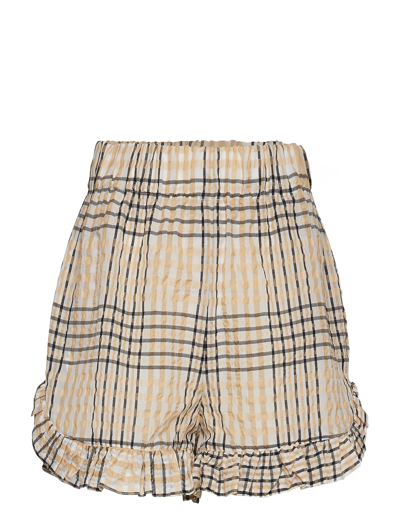 Ganni Seersucker Check Shorts - IRISH CREAM
