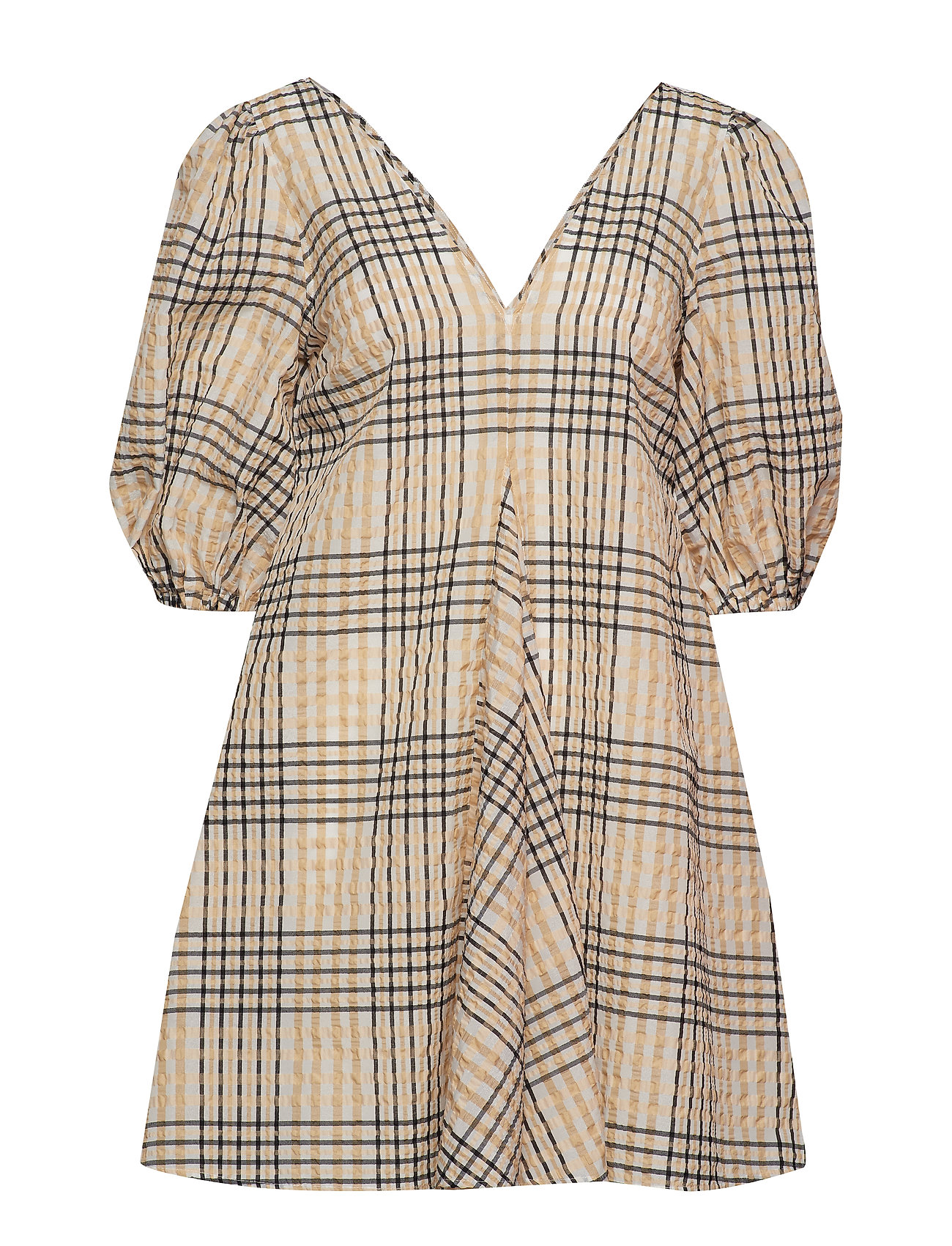 Ganni Seersucker Check Dress - IRISH CREAM