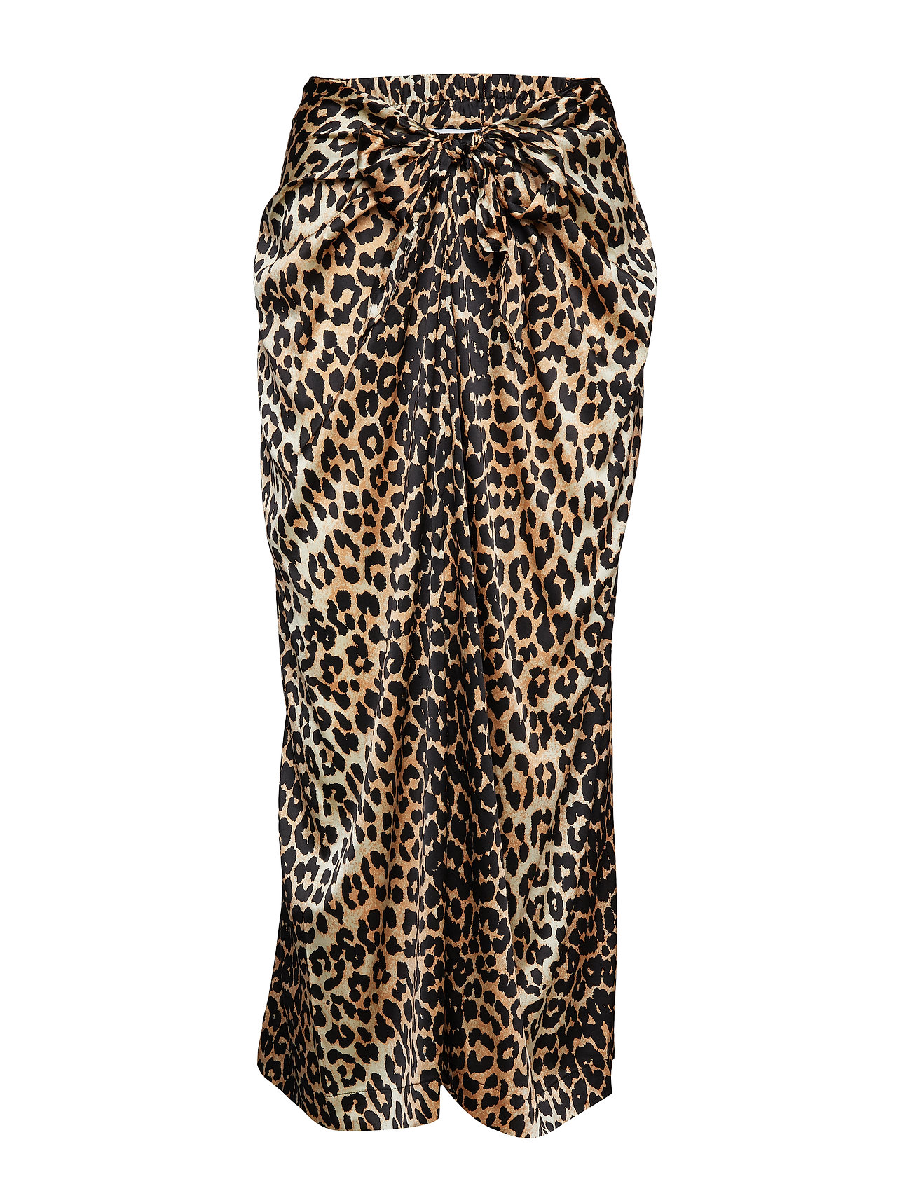 Ganni Silk Stretch Satin Skirt - LEOPARD