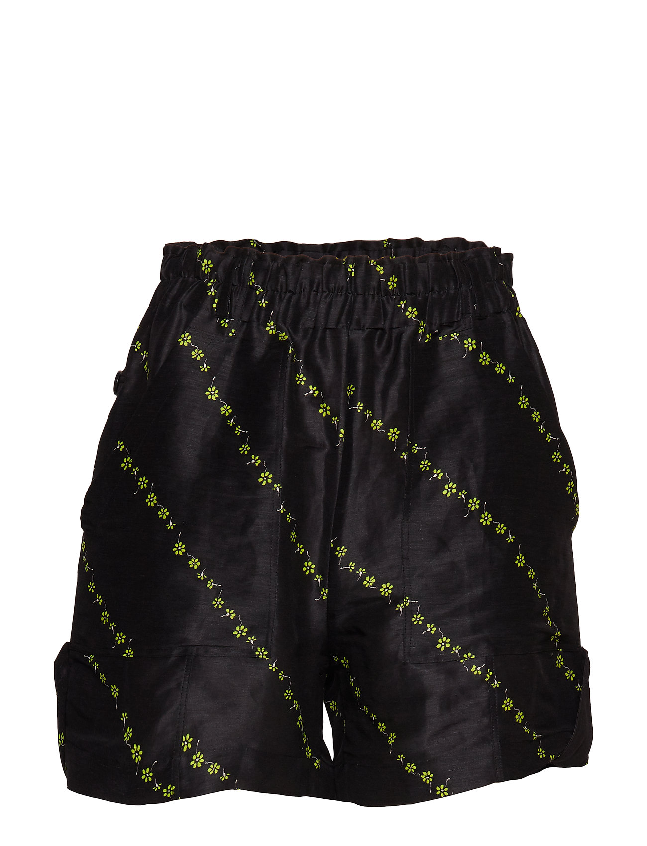 Ganni Silk Linen Shorts - BLACK