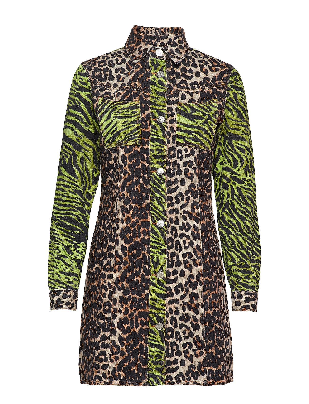 Ganni Print Denim Shirt Dress
