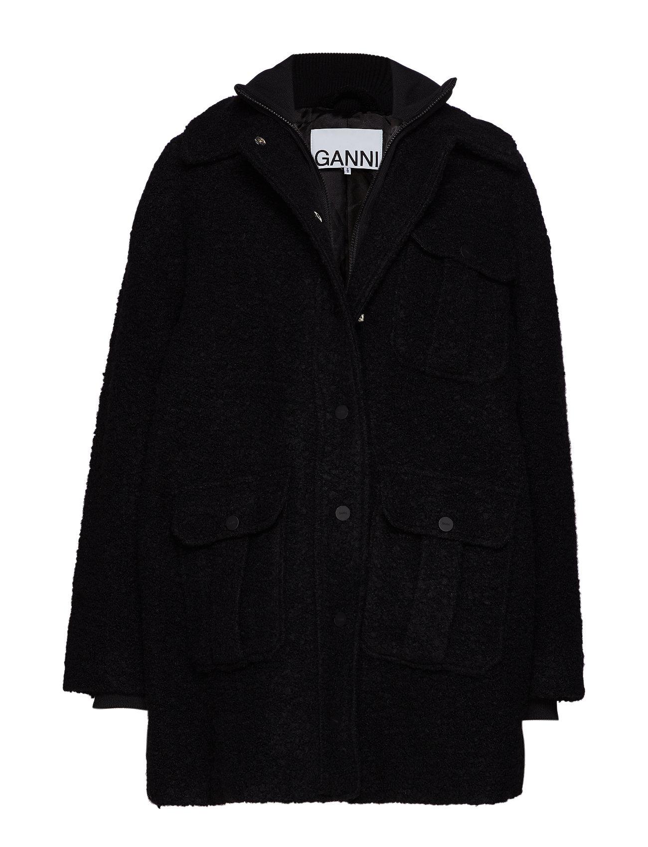 Ganni Boucle Wool Jacket - BLACK