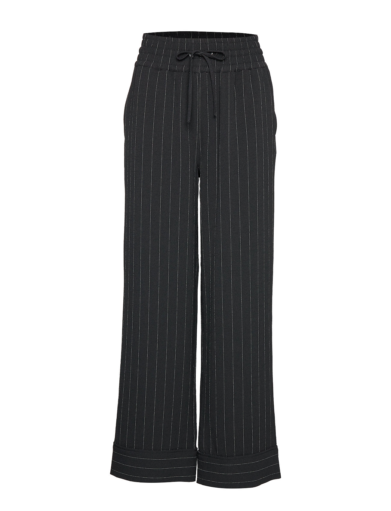 Ganni Heavy Crepe Wide Pants - BLACK