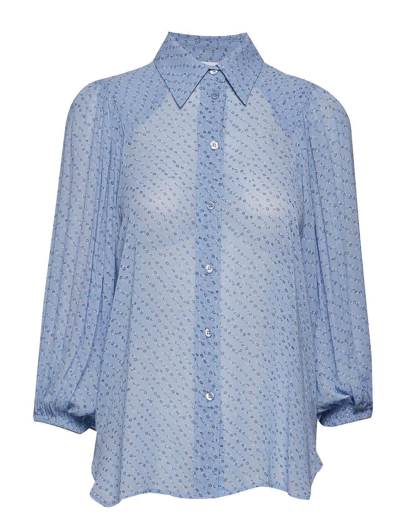 Ganni Printed Georgette Shirt - FOREVER BLUE