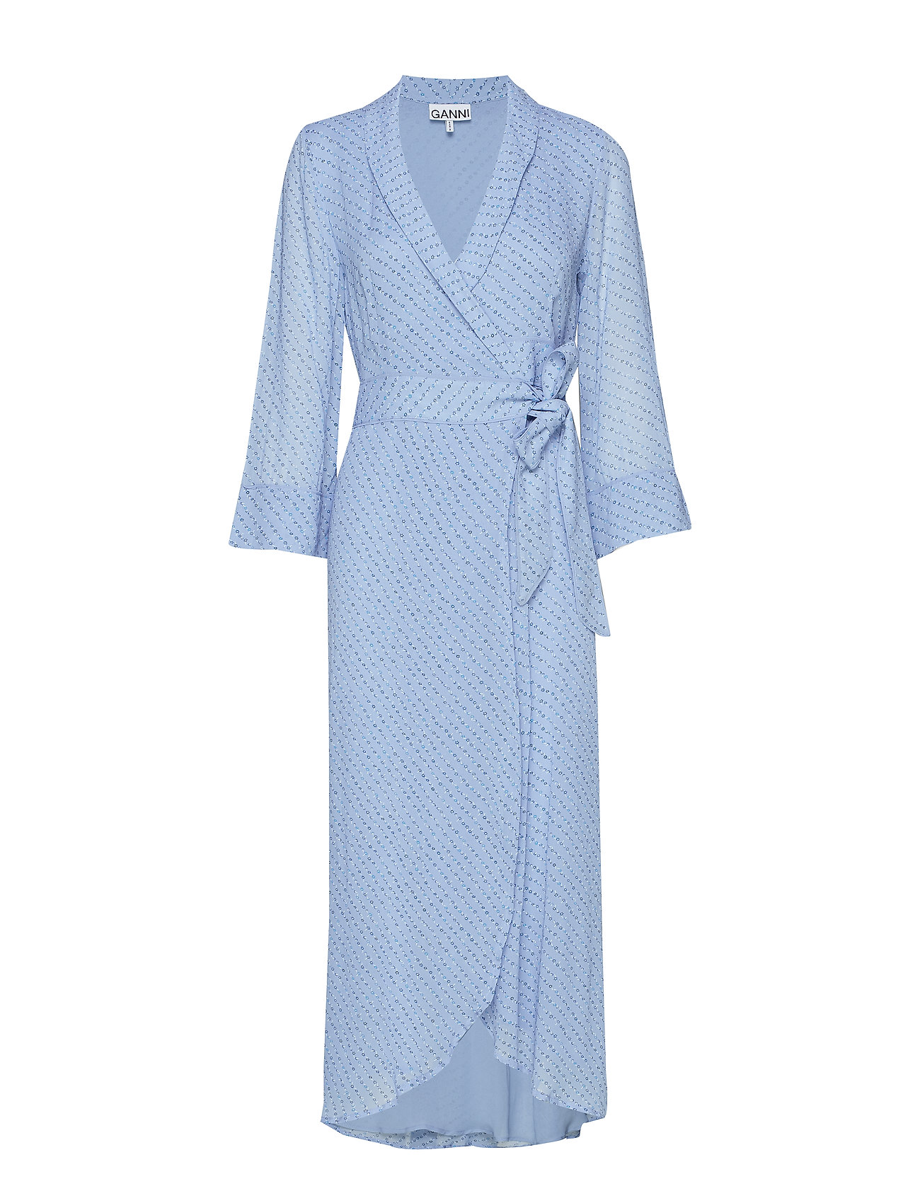 Ganni Printed Georgette Wrap Dress - FOREVER BLUE