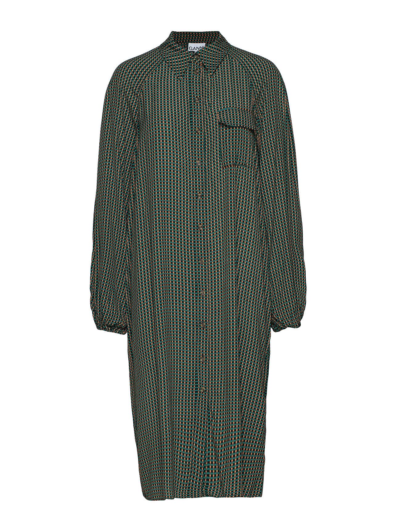 Ganni Printed Crepe Shirt Dress - TIGER'S EYE
