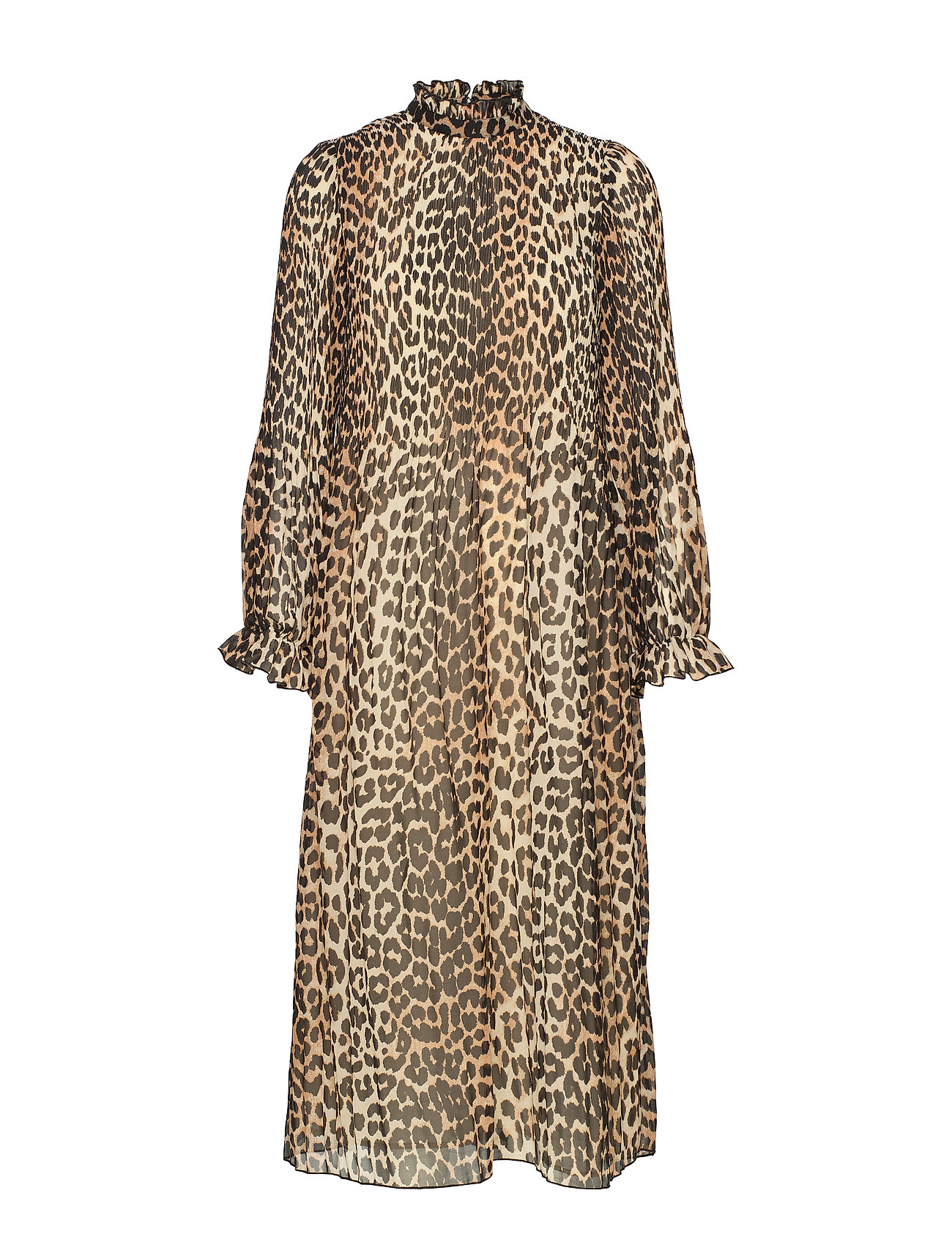 Ganni Pleated Georgette Dress - LEOPARD