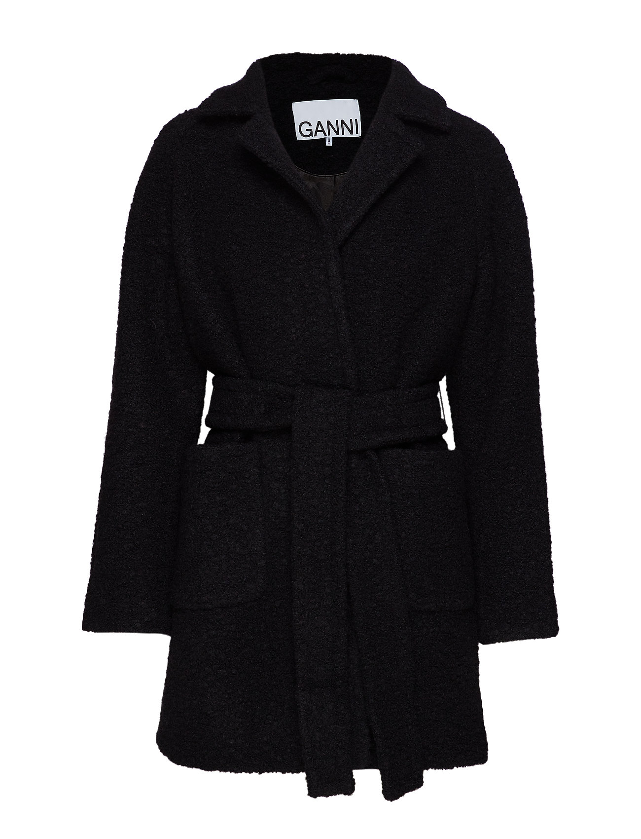 Ganni Boucle Wool Wrap Coat - BLACK