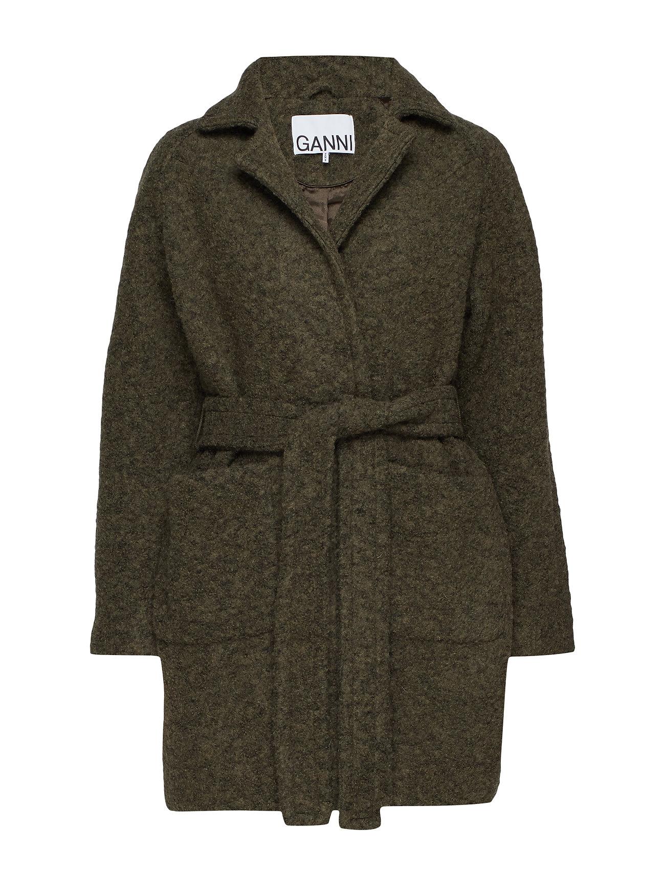 Ganni Boucle Wool Wrap Coat - KALAMATA