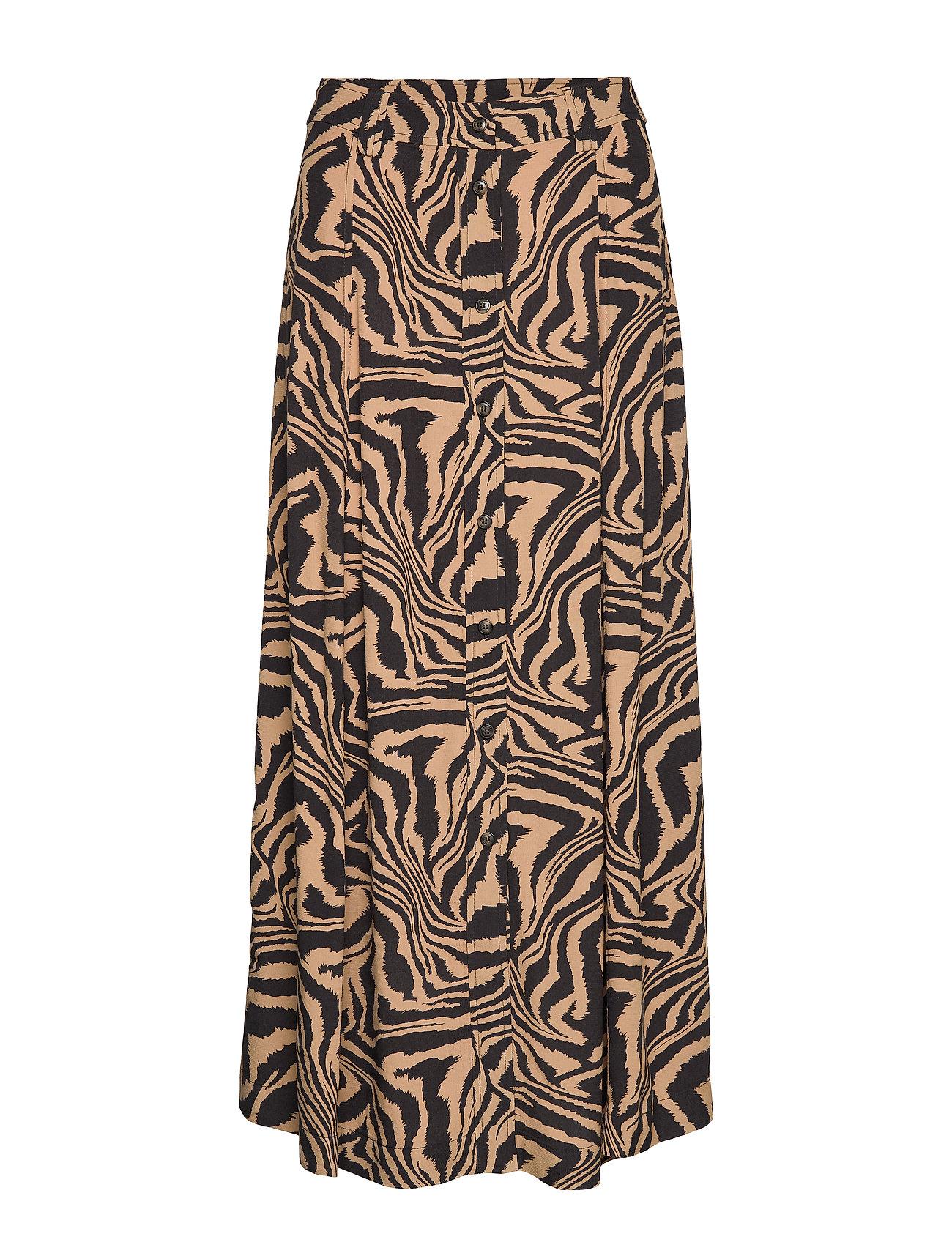 Ganni Printed Crepe Skirt - TANNIN