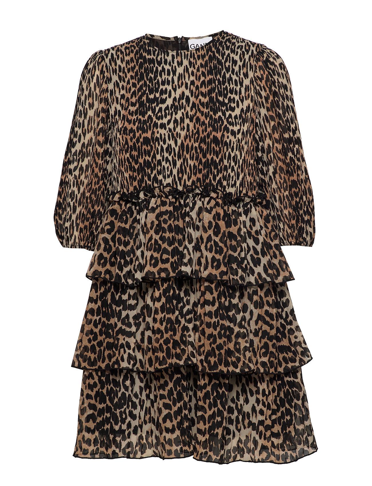 Ganni Georgette leopard klänning