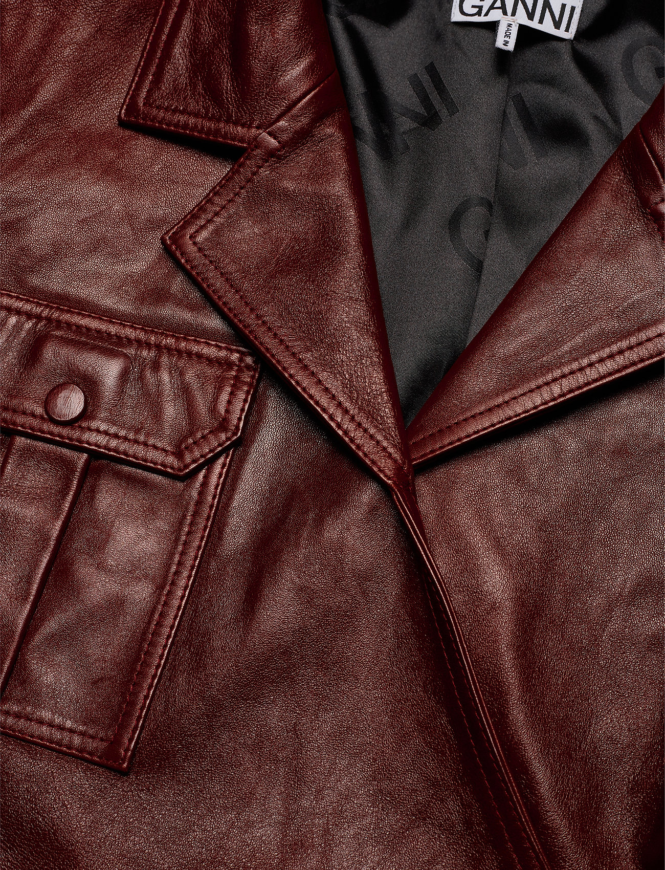 Ganni Lamb Leather - Blusar & Skjortor Decadent Chocolate