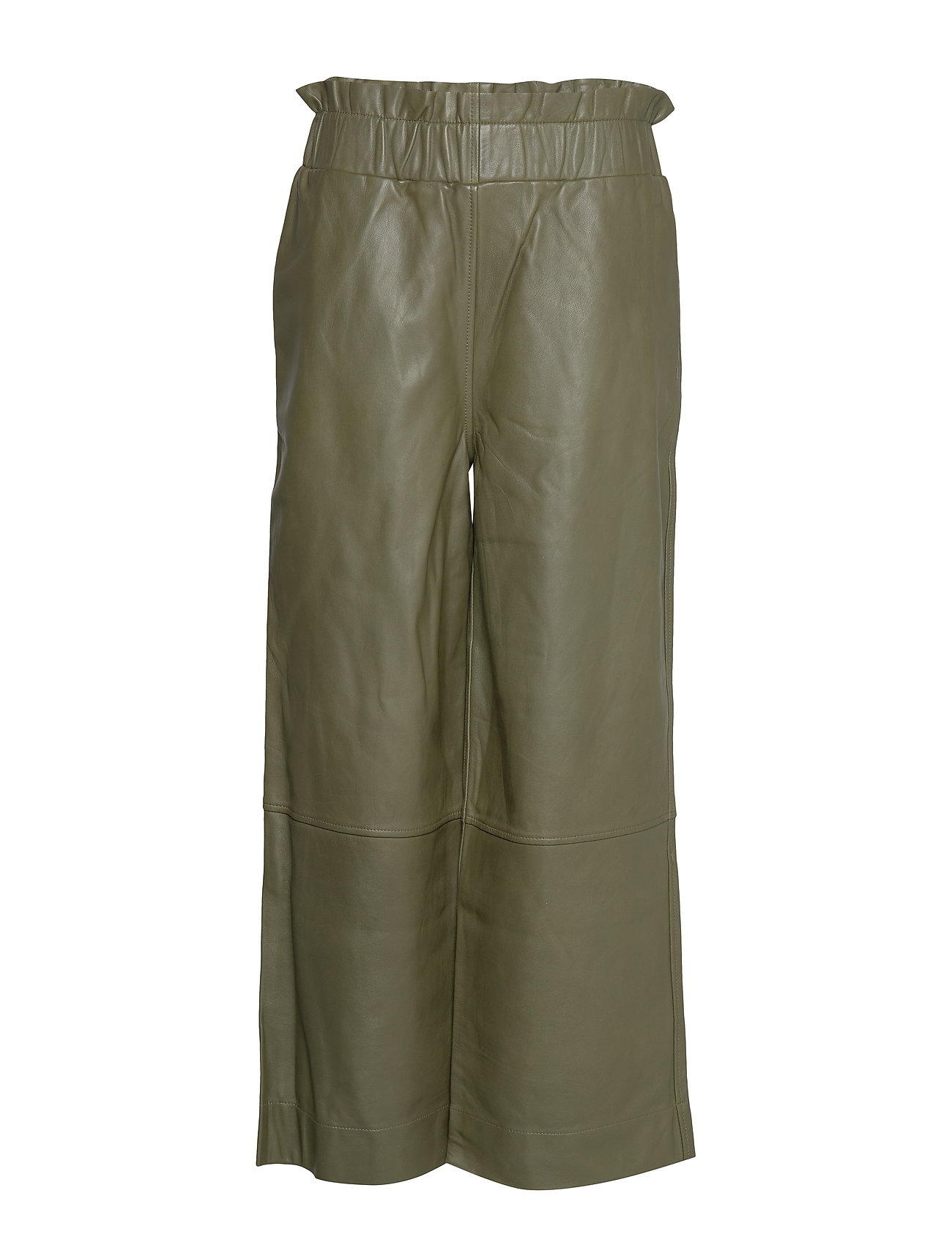 Image of Lamb Leather Pants Leather Leggings/Bukser Grøn Ganni (3291431421)