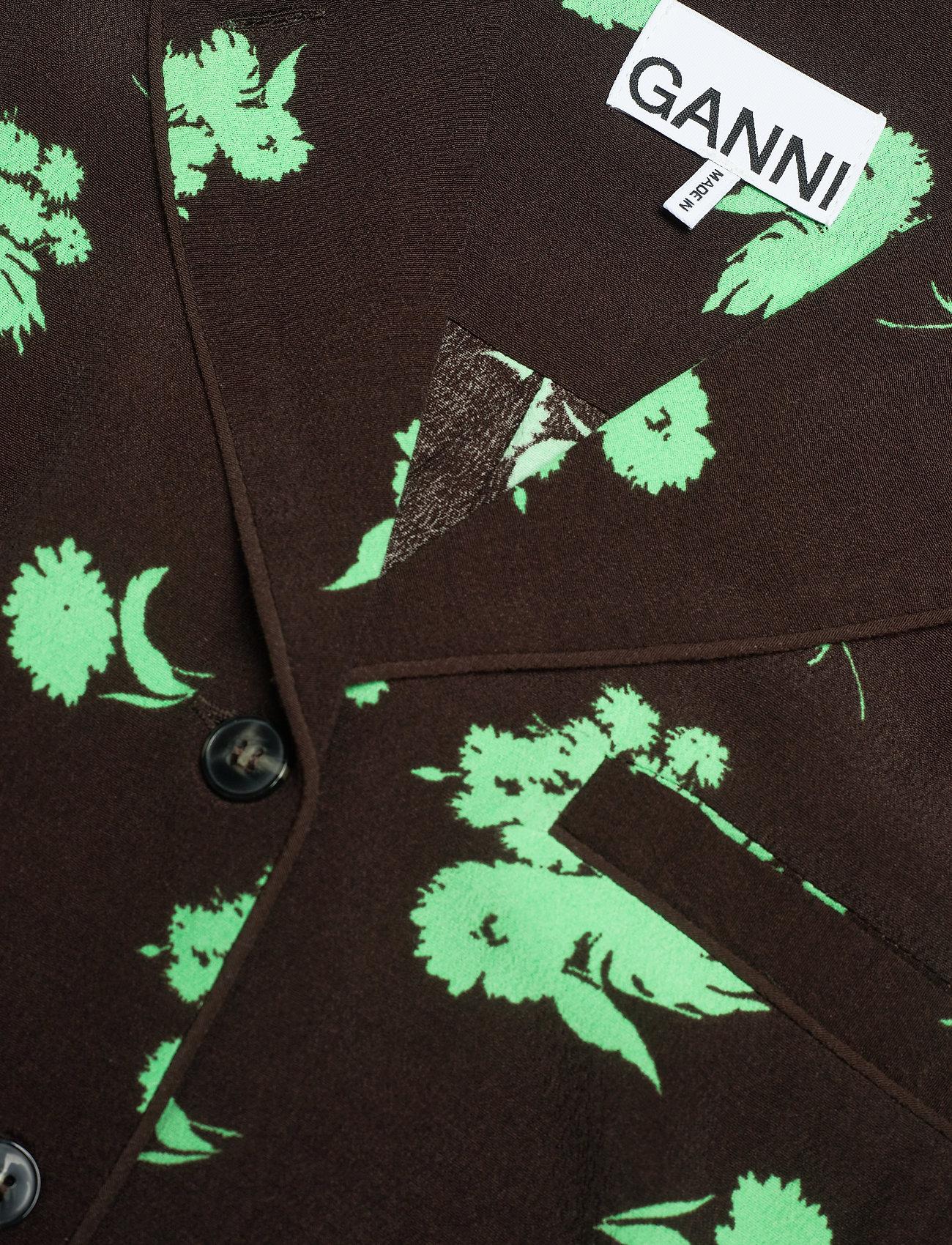 Ganni - Printed Crepe - langærmede bluser - mole - 2