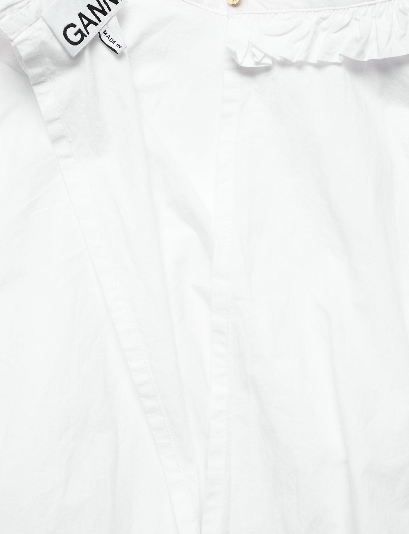 Ganni - Cotton Poplin - langærmede bluser - bright white - 3