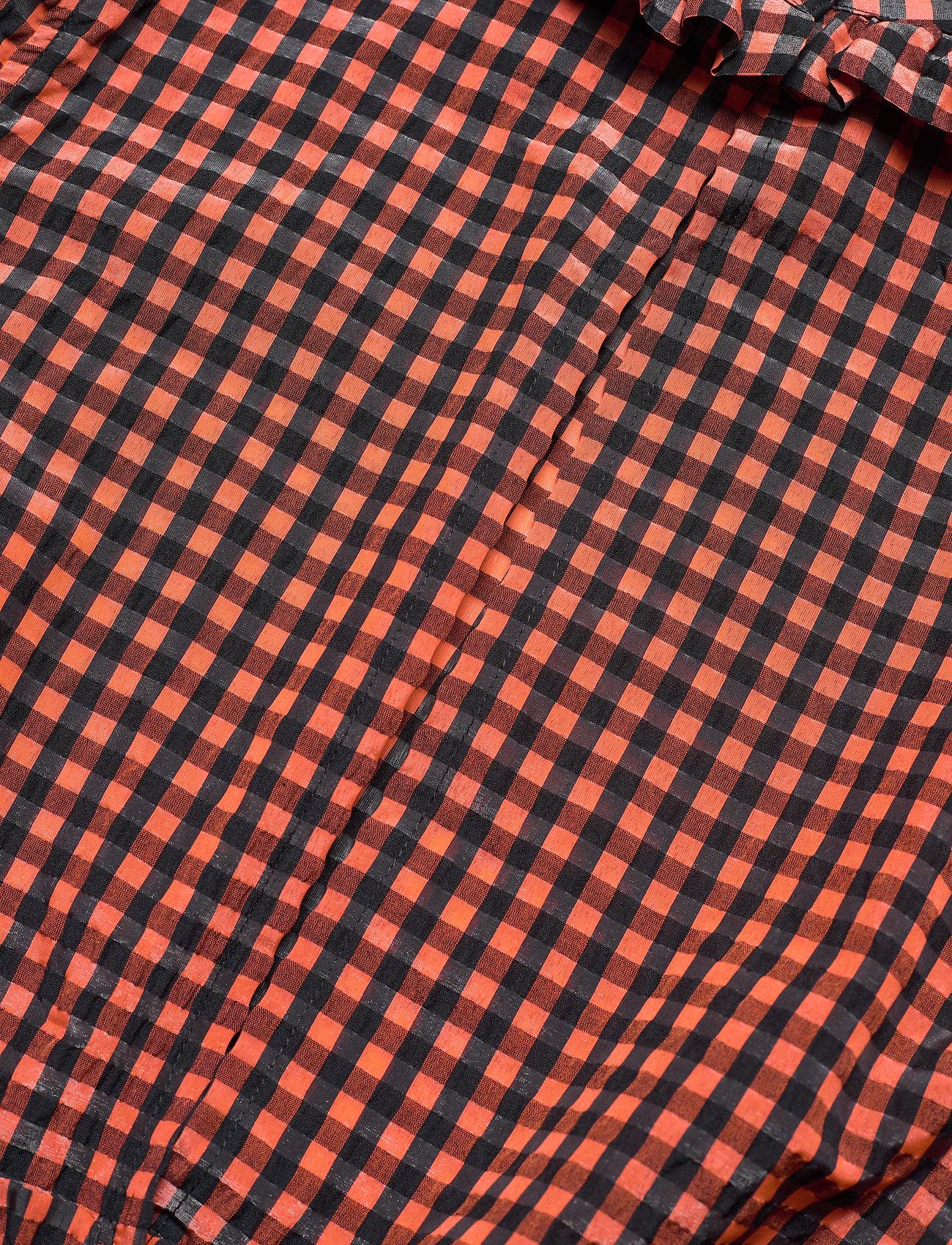 Ganni - Seersucker check - langärmlige blusen - flame - 3