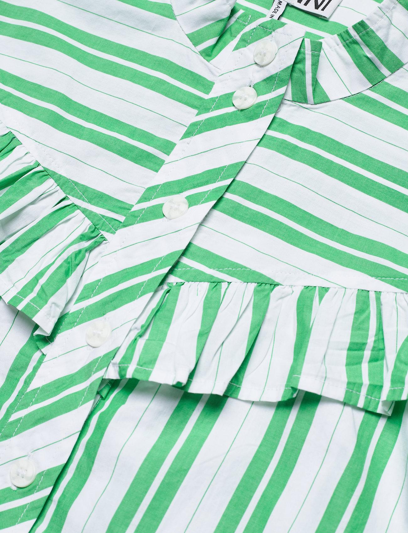 Ganni - Stripe Cotton - kortærmede skjorter - kelly green - 2
