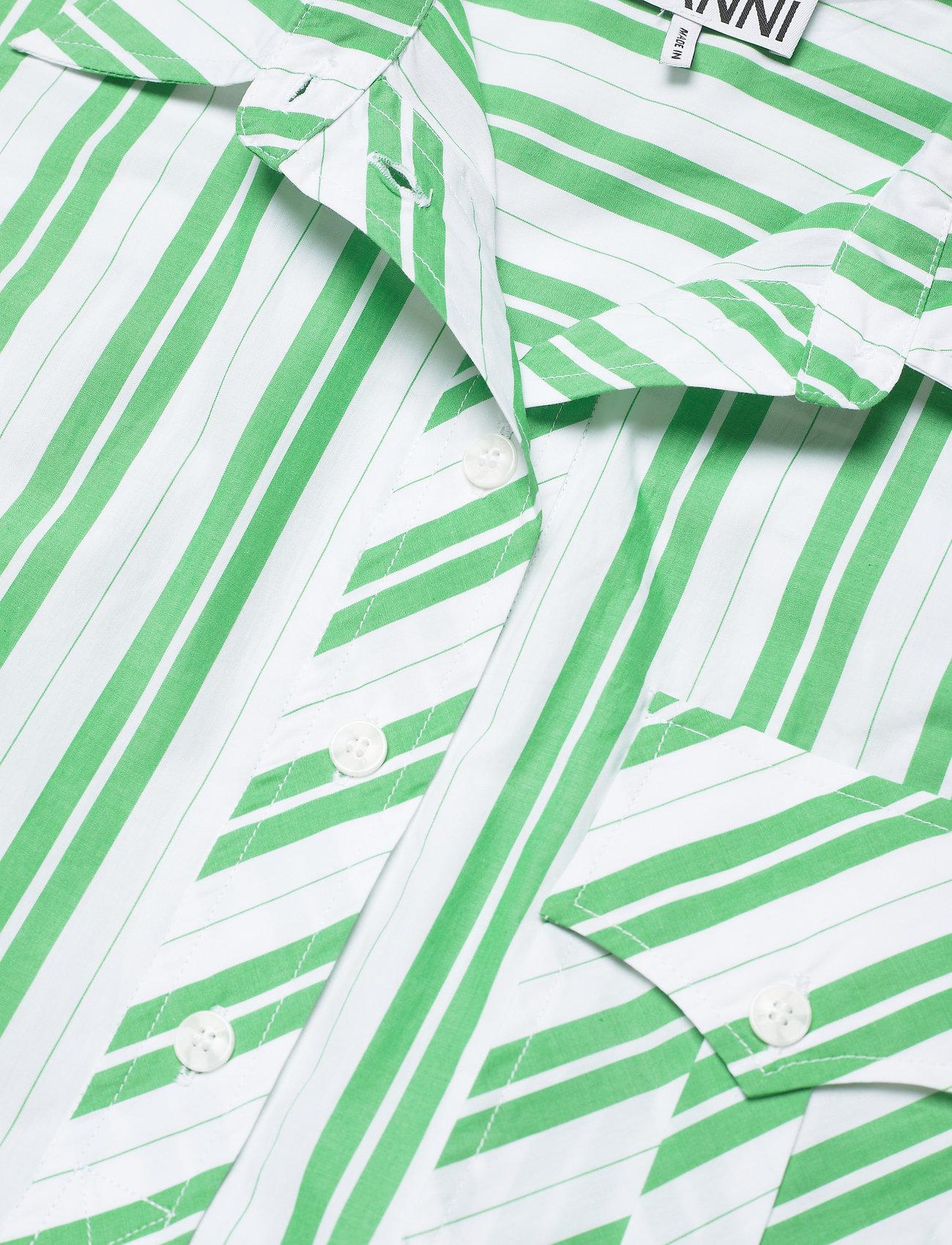 Ganni - Stripe Cotton - skjortekjoler - kelly green - 2