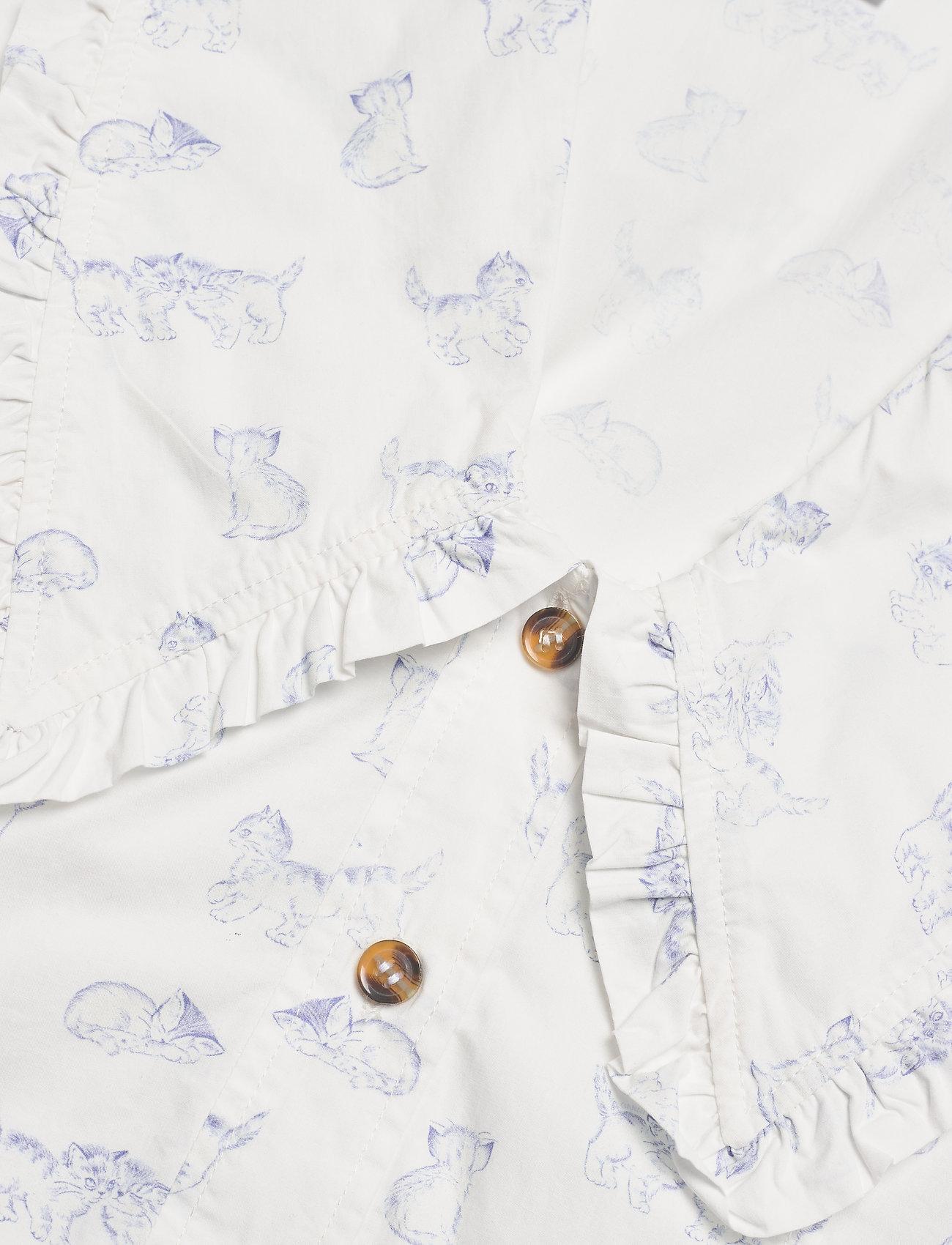 Ganni - Printed Cotton Poplin - langærmede bluser - bright white - 3