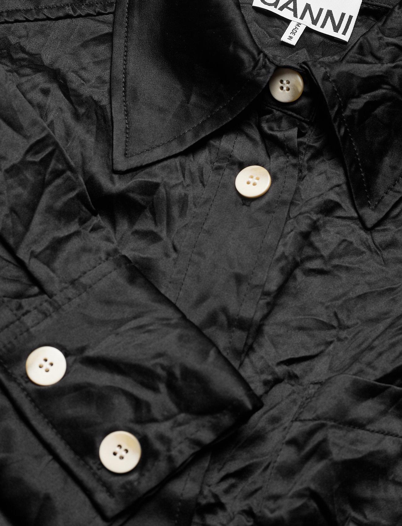Ganni - Crinkled Satin - langærmede bluser - black - 2