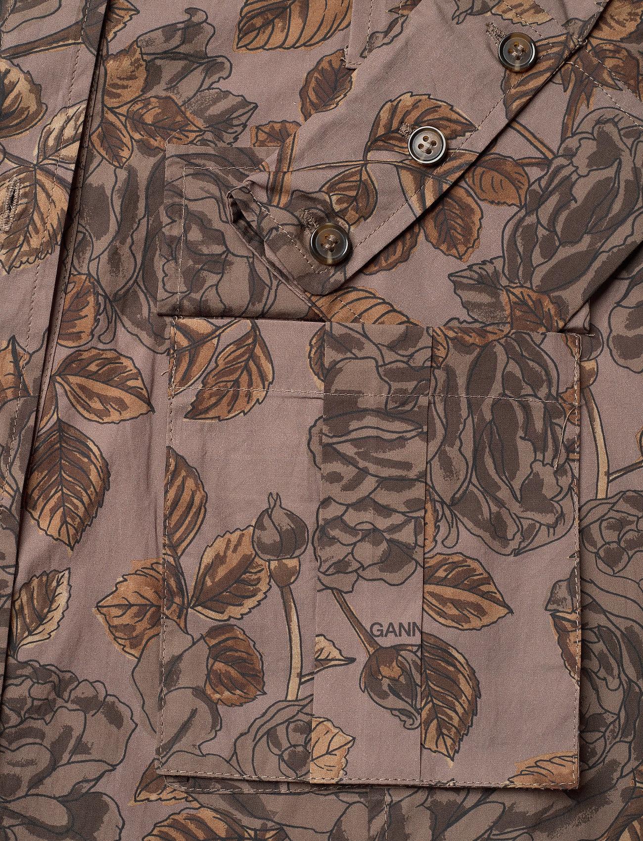 Ganni - Printed Cotton Poplin - midi kjoler - fossil - 3