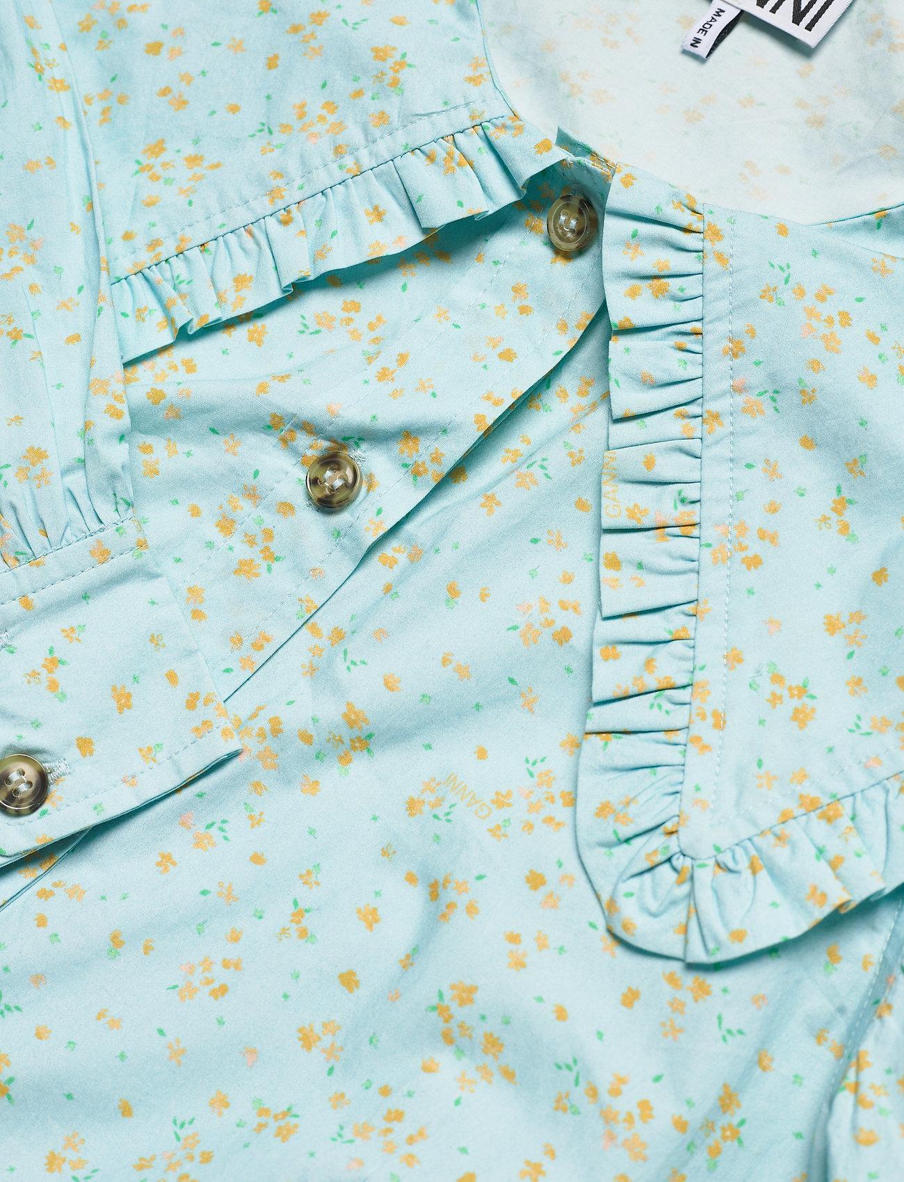 Ganni - Printed Cotton Poplin - langærmede bluser - corydalis blue - 2