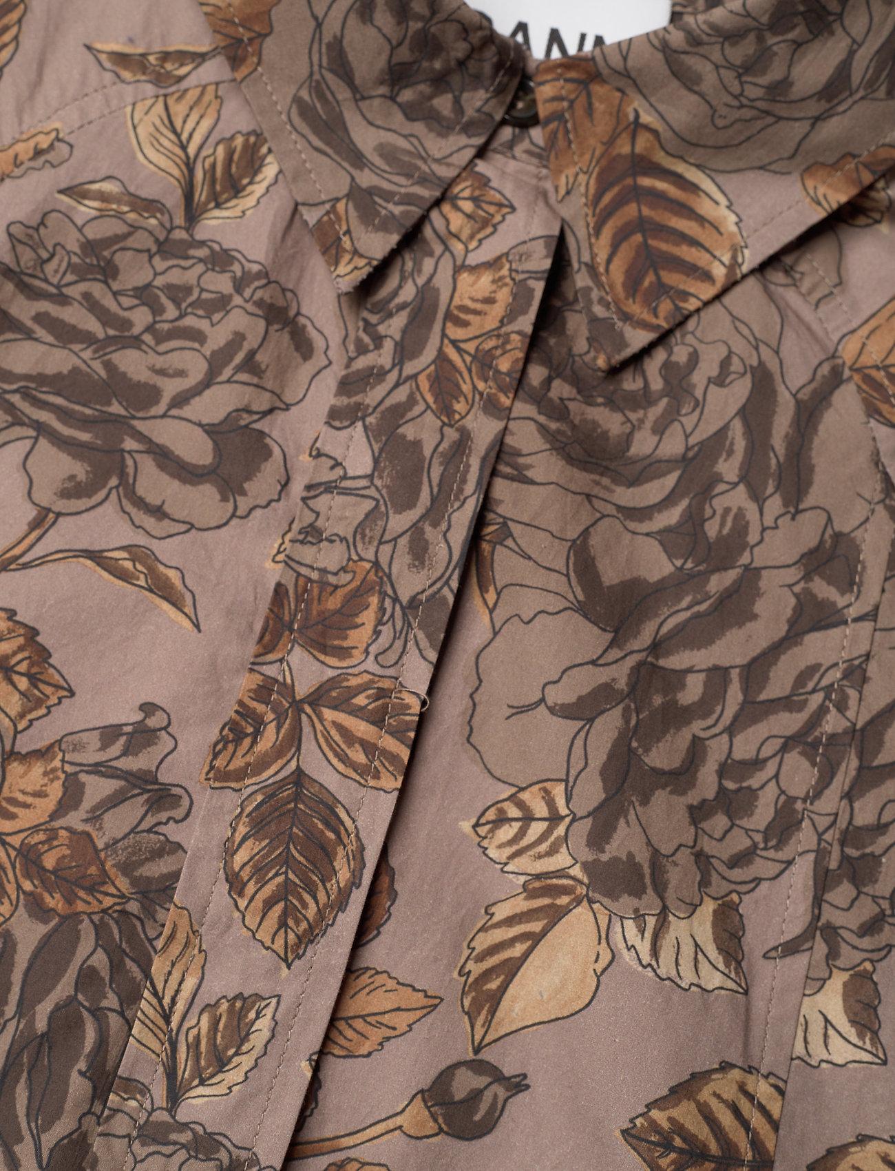 Ganni - Printed Cotton Poplin - skjortekjoler - fossil - 2