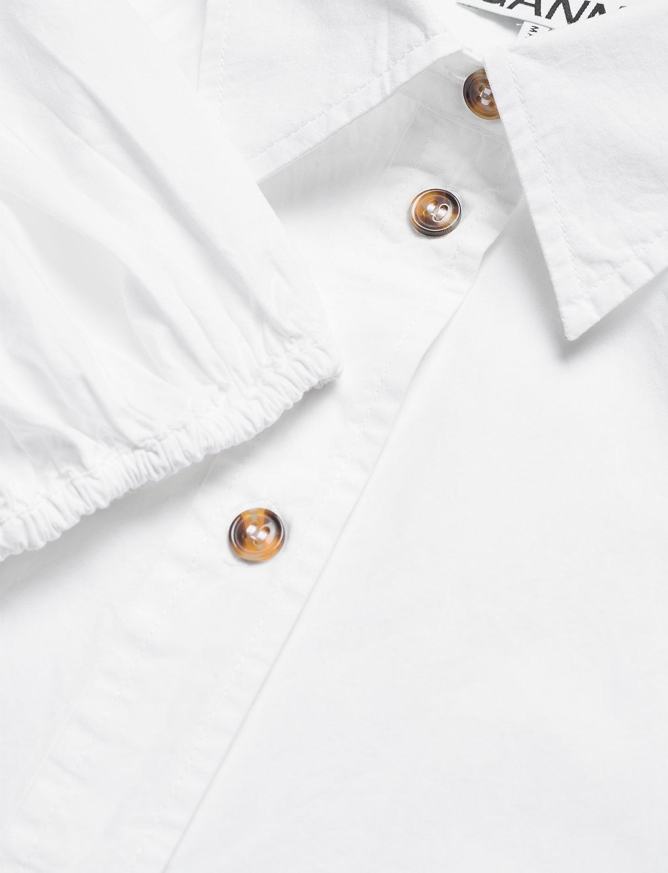 Ganni - Cotton Poplin - kortærmede bluser - bright white - 2