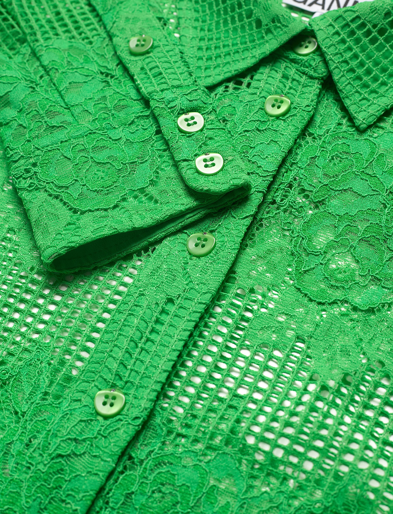 Ganni - Lace - long-sleeved shirts - kelly green - 2