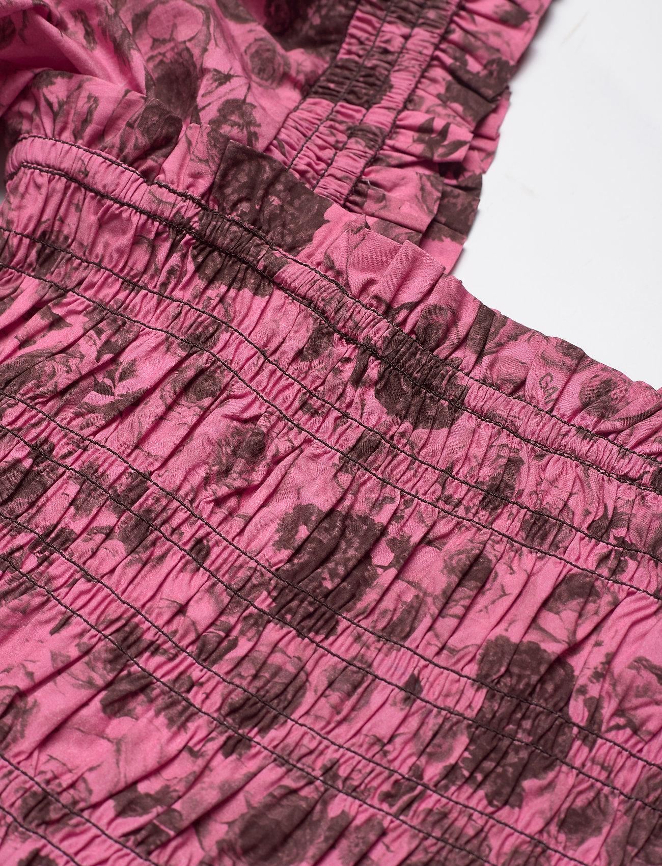 Ganni - Printed Cotton Poplin - kortærmede bluser - shocking pink - 2