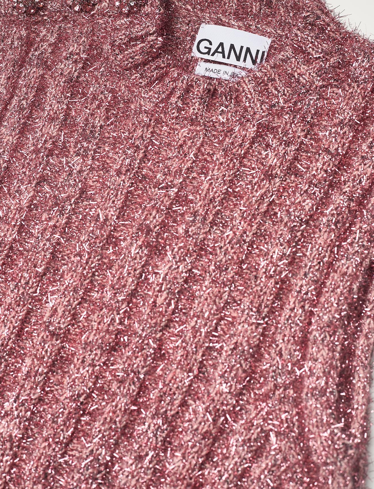 Ganni - Chunky Glitter Knit - strikveste - pink nectar - 2