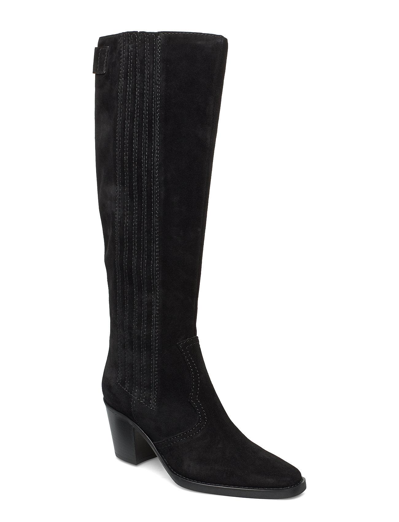 Ganni Western Knee High Boots - BLACK