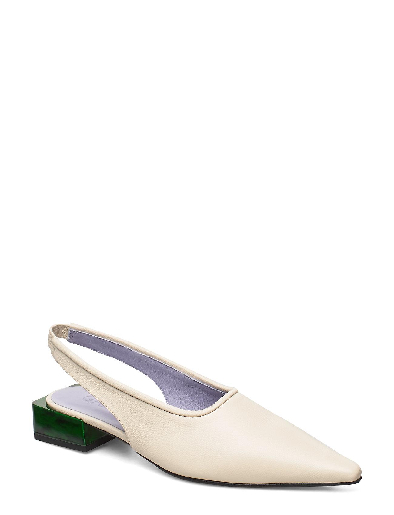 Image of Low Heel Shoes Heels Pumps Sling Backs Hvid Ganni (3288857671)