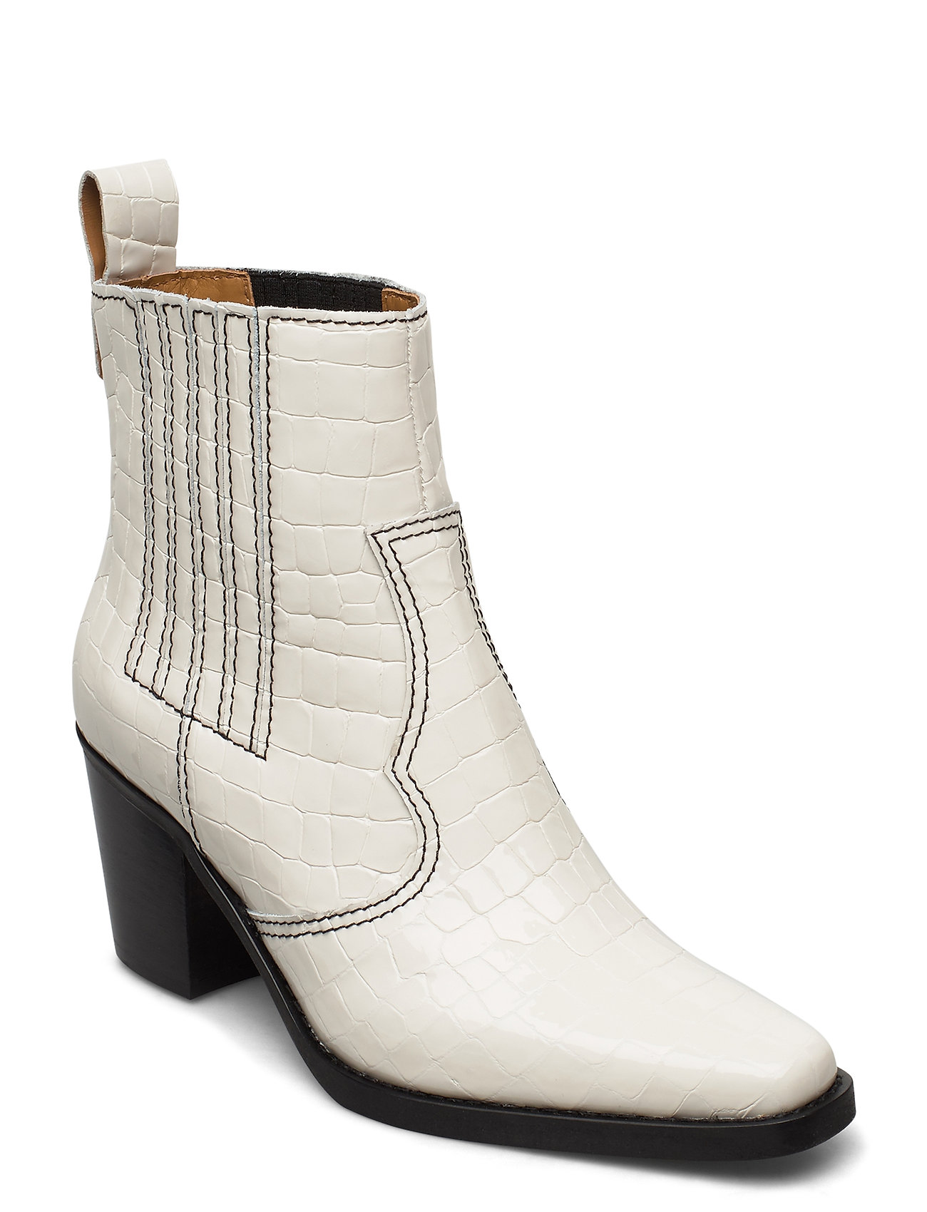 Image of Western Boot Belly Croc Shoes Boots Ankle Boots Ankle Boot - Heel Creme Ganni (3426780521)