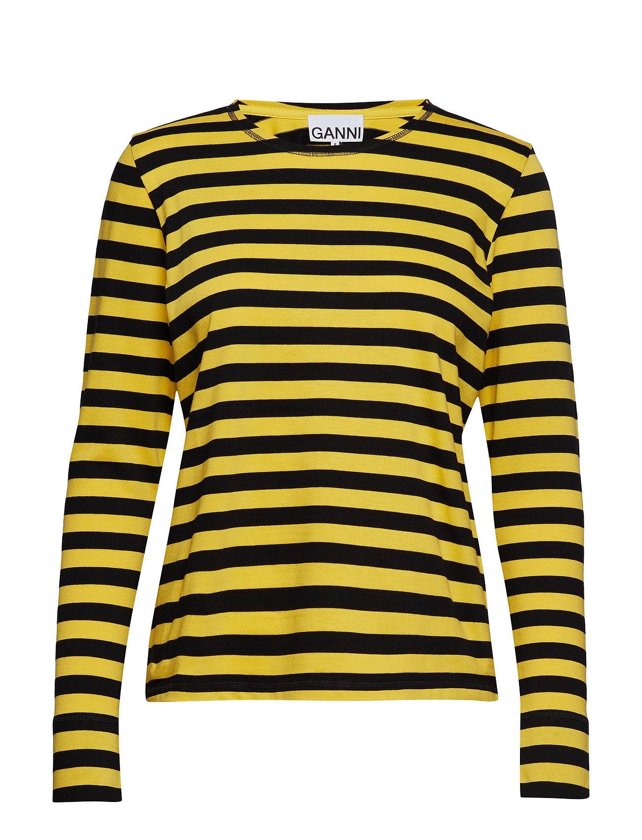 Striped Cotton Jersey Langærmet T shirt Gul Ganni