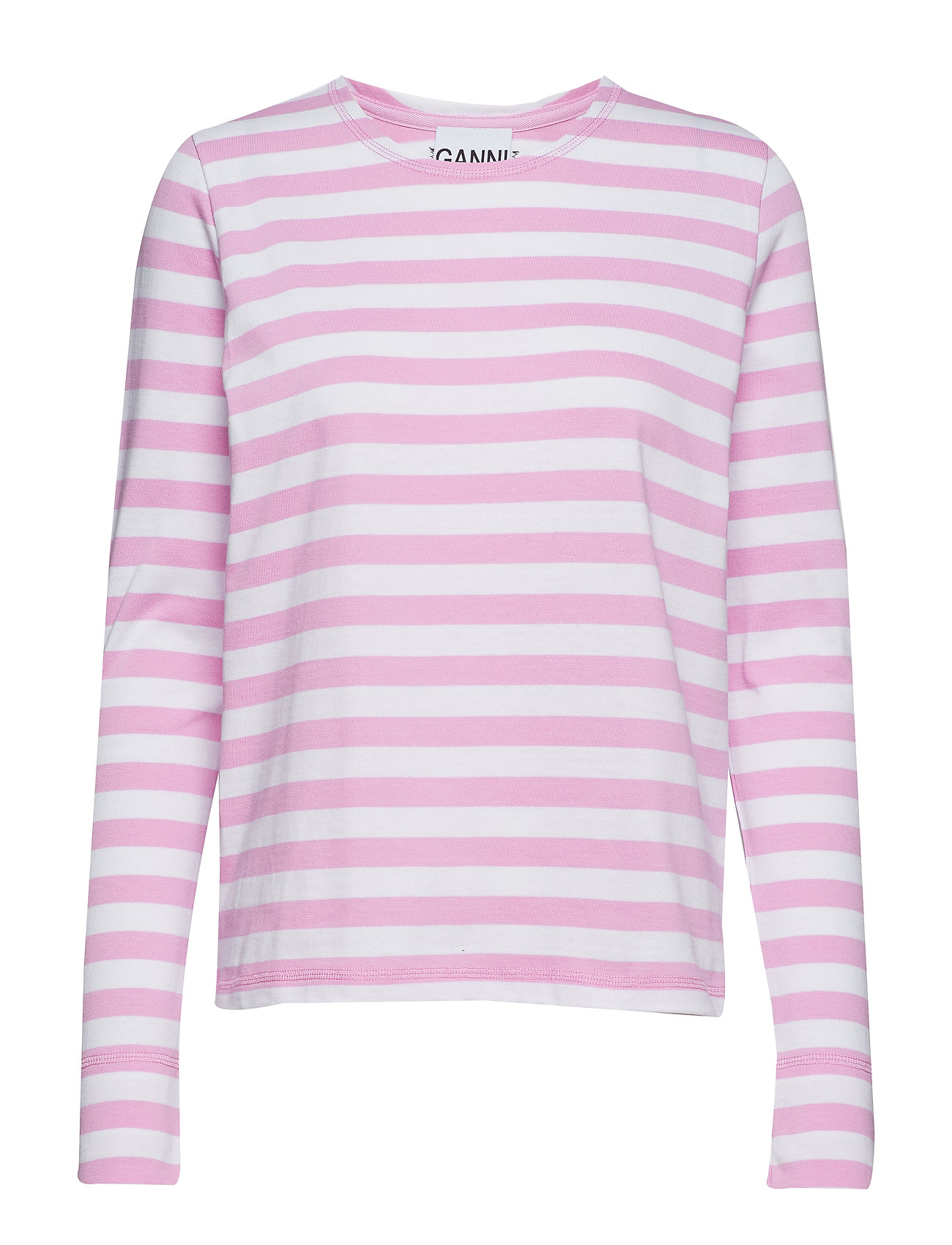 Ganni Striped Cotton Jersey - MOONLIGHT MAUVE