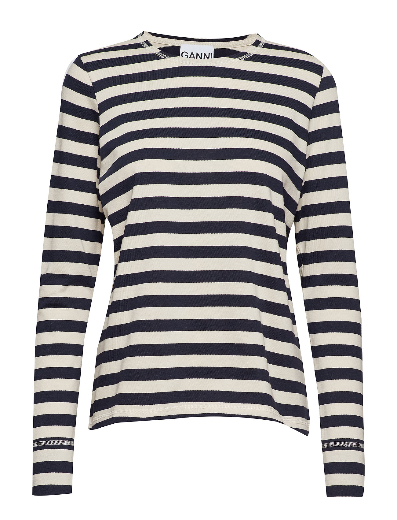 Ganni Striped Cotton Jersey - NATURE/DRESS BLUES