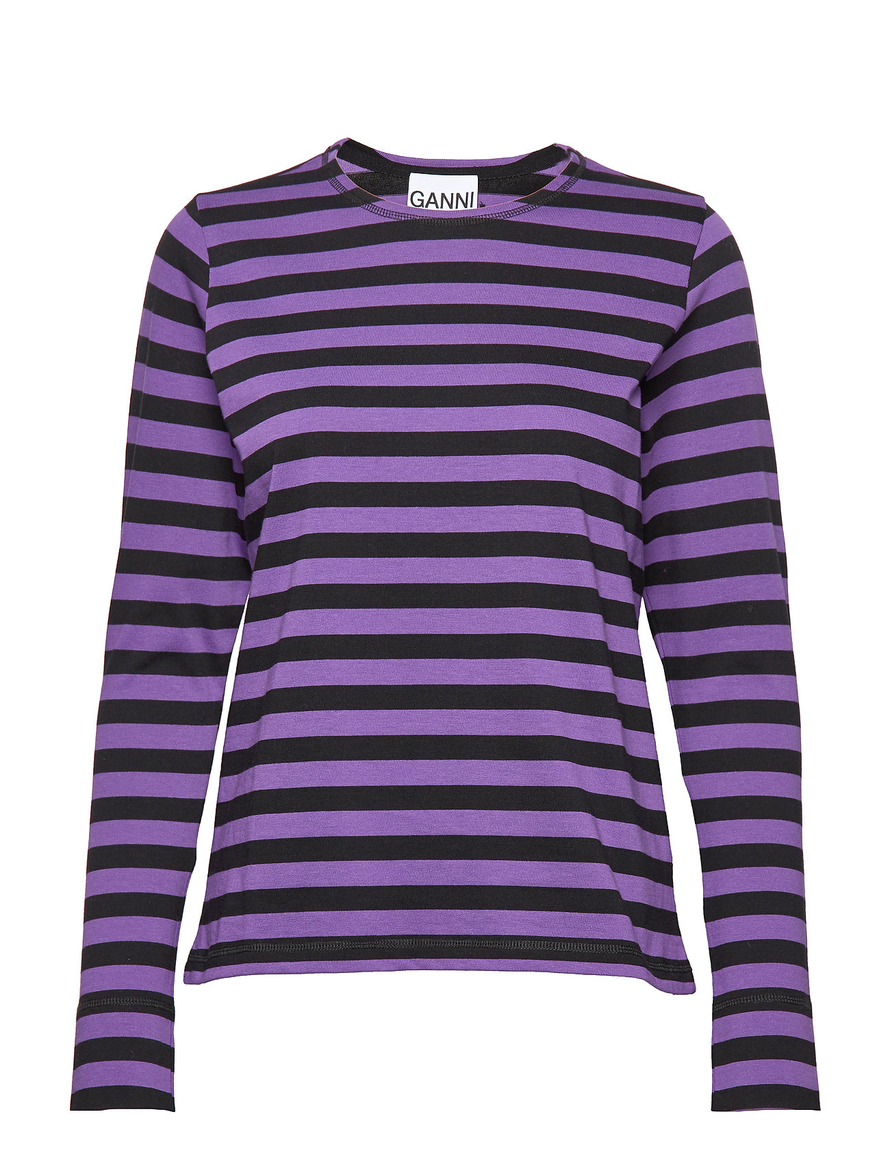 Ganni Striped Cotton Jersey - DEEP LAVENDER
