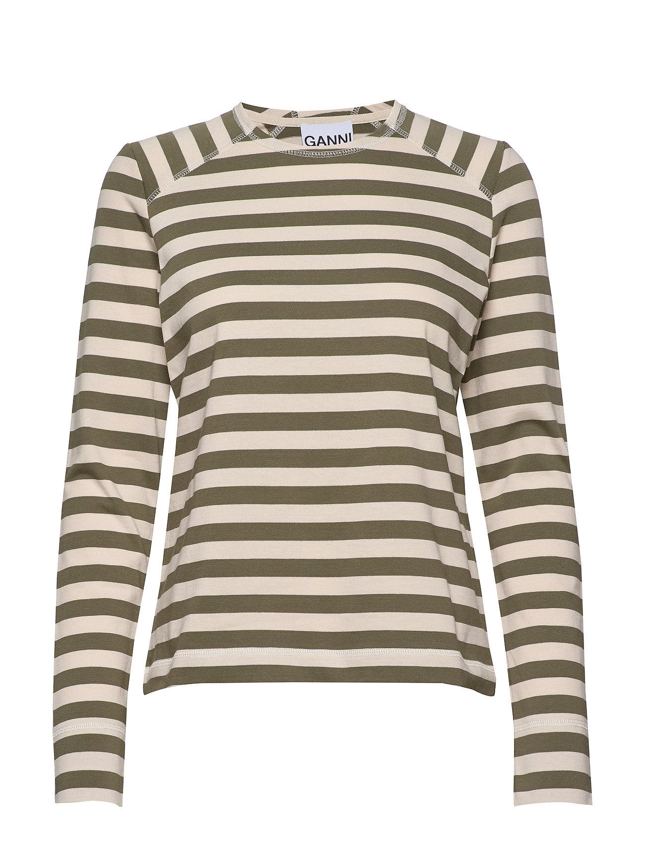 Ganni Striped Cotton Jersey - KALAMATA