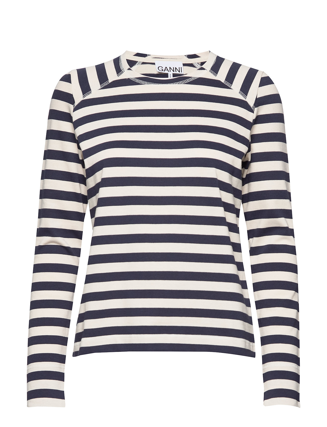 Ganni Striped Cotton Jersey - NATURE/DRESS BLUES