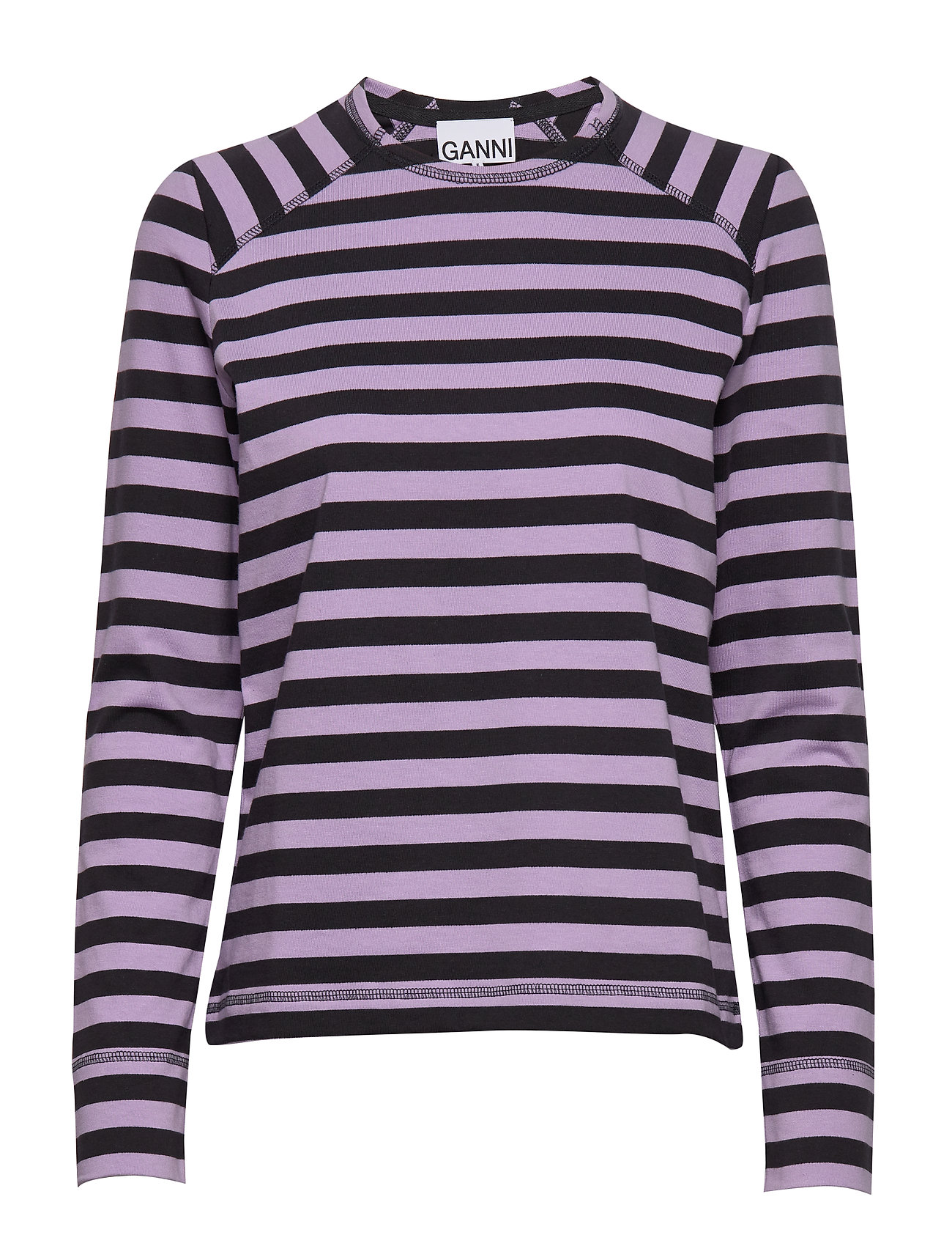 Ganni Striped Cotton Jersey - VIOLET TULIP